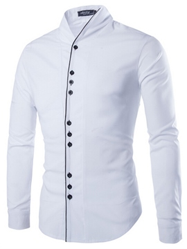 Ericdress Unique Slim Stand Collar Men's Shirt