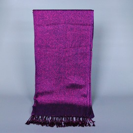 Elegant Gold Thread & Tassel Decorated Cotton Ultra Violet Scarf