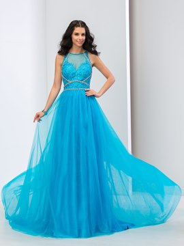 Ericdress A-Line Jewel Neck Appliques Beaded Long Prom Dress