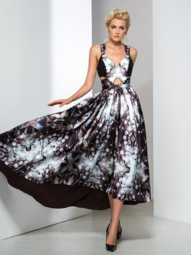 Ericdress Asymmetrical Length Straps Print Prom Dress