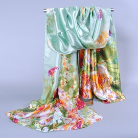 Stylish Flower Printed Silk Scarf