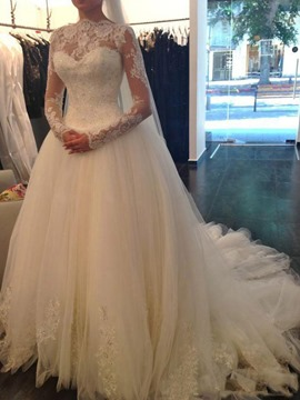 Ericdress Court Ball Gown High Neck Lace Hall Wedding Dress