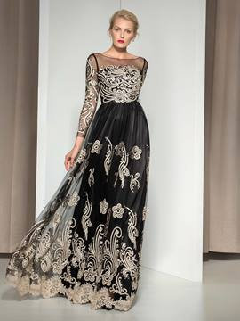 Ericdress Long Sleeve Embroidery A-Line Evening Dress