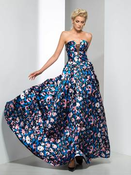 Ericdress Strapless Print Zipper-Up Long Evening Dress