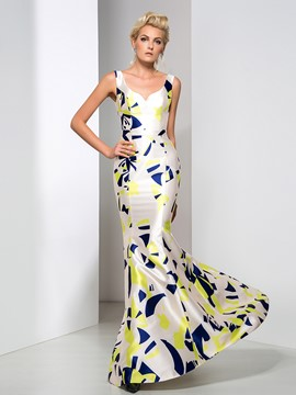 Ericdress Strapless Print Mermaid Long Evening Dress
