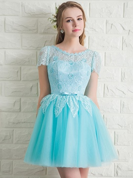 Ericdress Short Sleeve dentelle Bowknot Lace-Up Homecoming robe