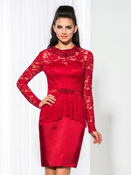 Robe de Cocktail courte dentelle Ericdress Long Sleeve