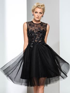 Ericdress Lace Sequins Black Cocktail Dress