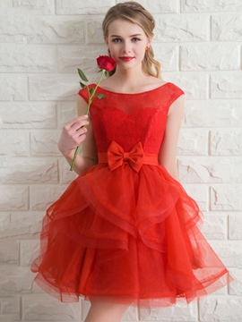 Ericdress Cap Sleeve Bowknot A-Line Homecoming Dress