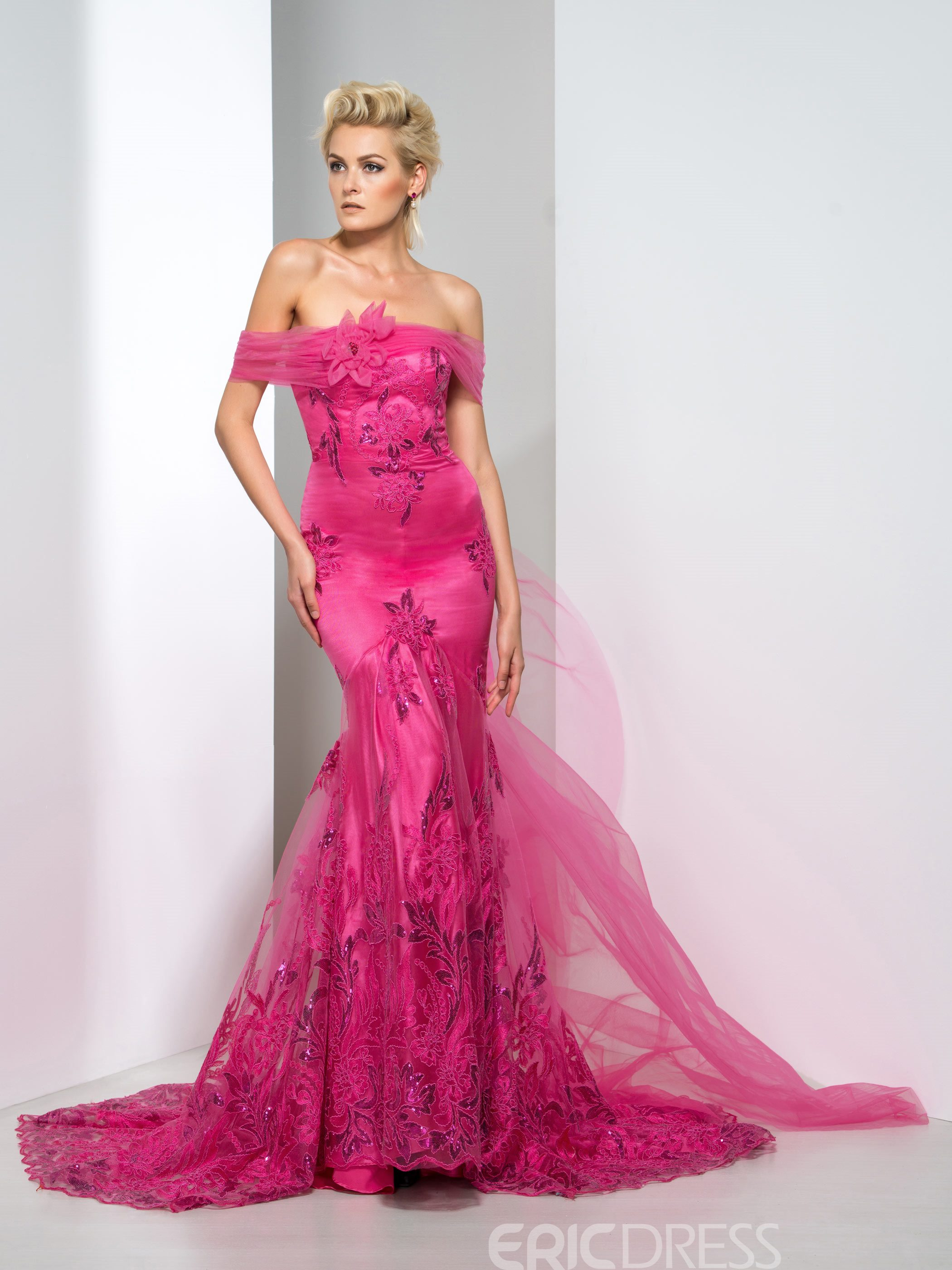 98cc8d2f5445 Ericdress Off-The-Shoulder Appliques Mermaid Evening Dress With Court Train