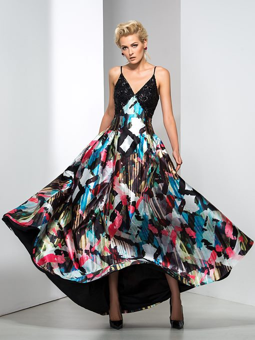 Ericdress Spaghrtti Straps Sequins Print Prom Dress