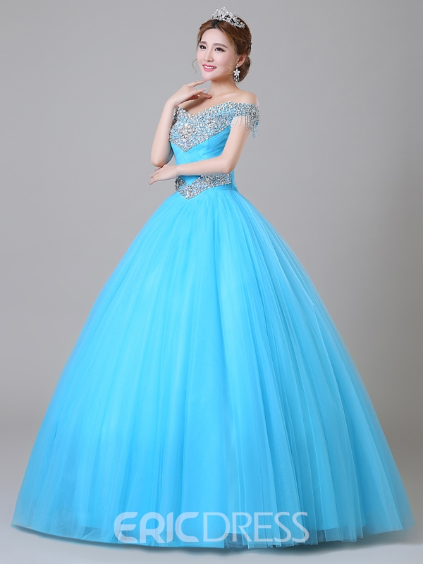 Ericdress Off-The-Shoulder Beaded Ball Gown Long Quinceanera Dress