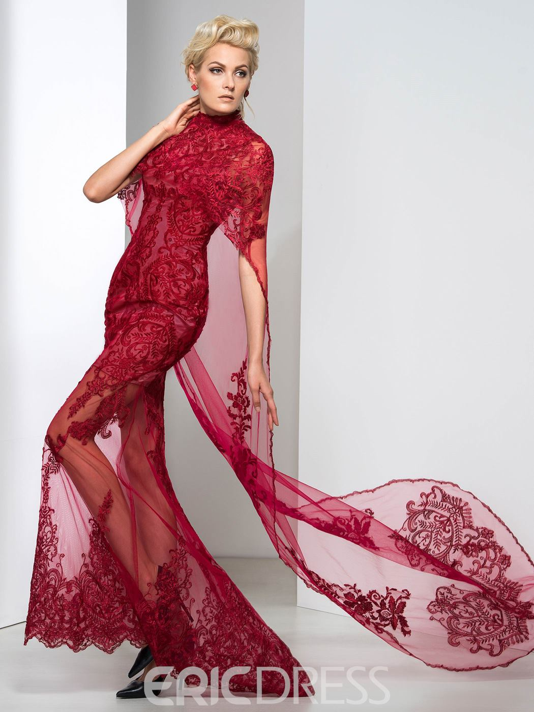 Ericdress Sheath Floor-Length Lace Evening Dress With Shawl