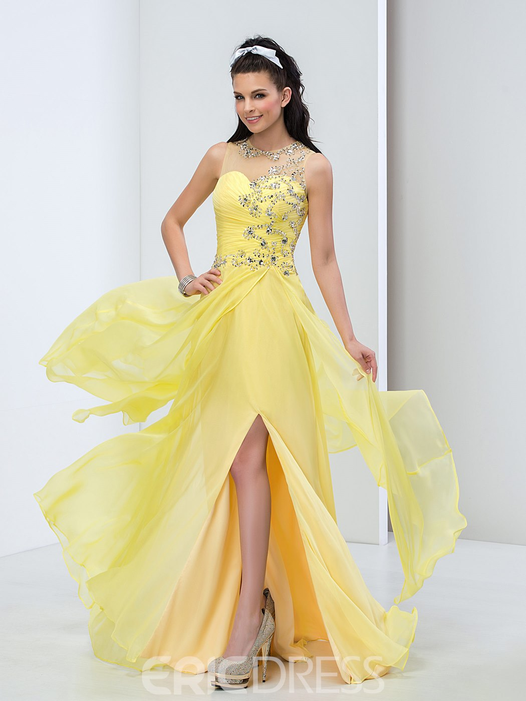 Ericdress Beading Pleats Side-Split Long Prom Dress