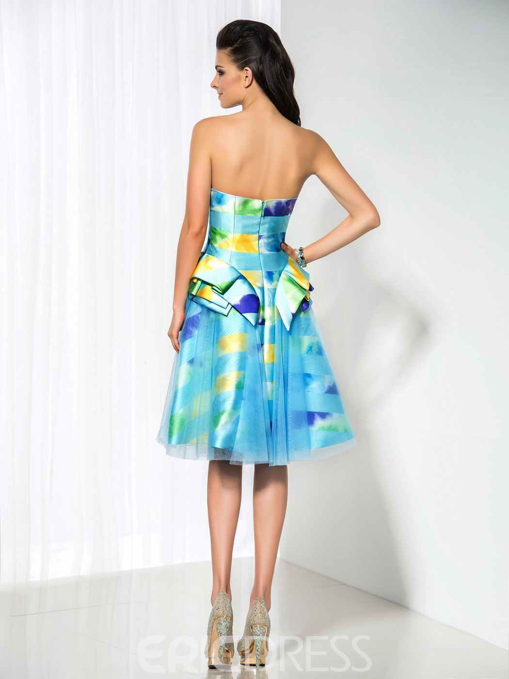 Ericdress A-Line Contrast Color Strapless Cocktail Dress
