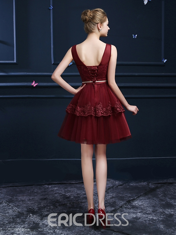 Ericdress Straps A-Line Lace Ruched Homecoming Dress