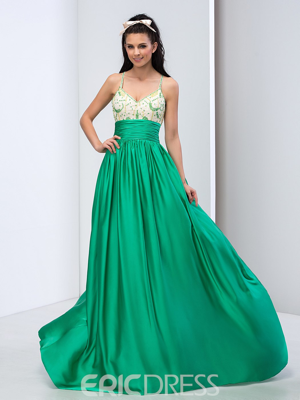 Ericdress Spaghetti Straps Criss-cross Beading Long Prom Dress ...