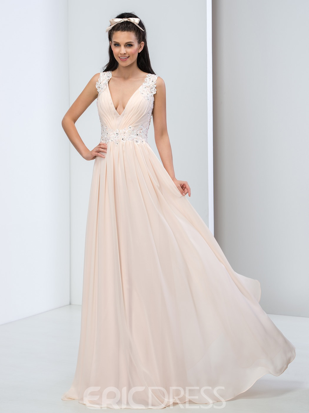 Ericdress A-Line Deep-V Neck Open Back Appliques Prom Dress