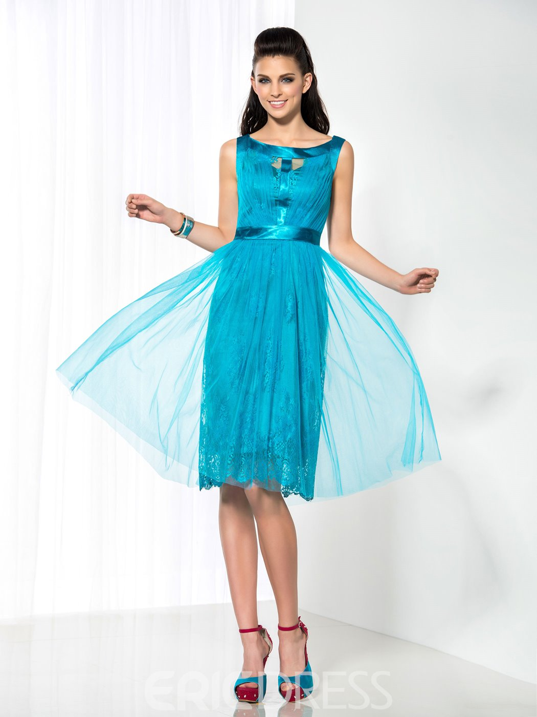 Ericdress Scoop Lace Knee-Length Cocktail Dress