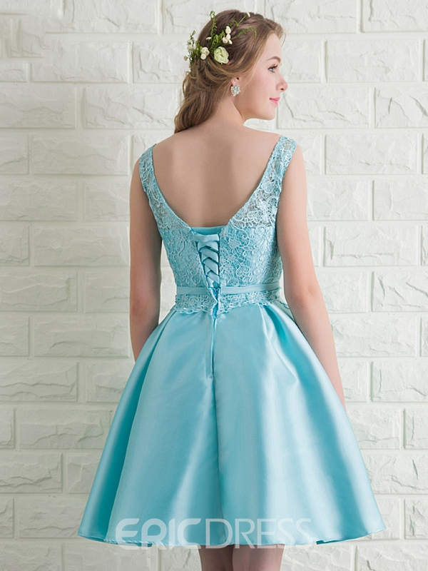 Ericdress A-Line Round Neck Lace Bowknot Homecoming Dress