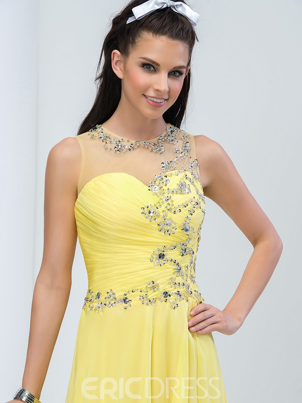 Ericdress perles plis côté rabattable Long Prom Dress
