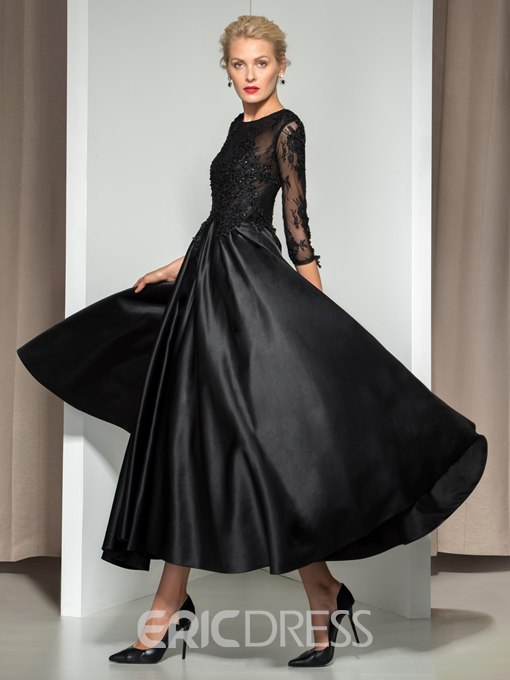 Ericdress 3/4 Long Sleeve Appliques Asymmetrical Length Evening Dress