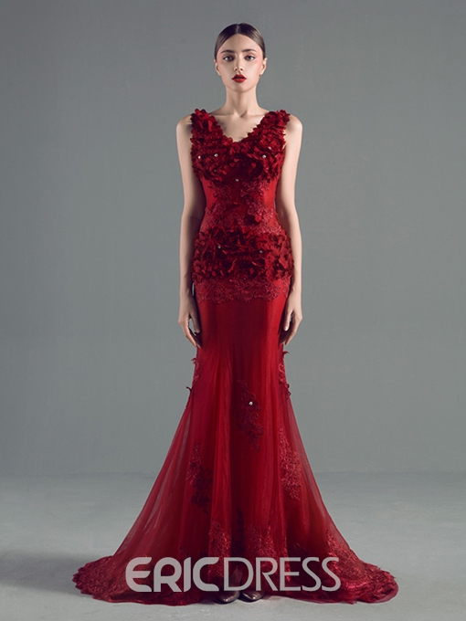 Ericdress Deep-V Neck Appliques Sequins Mermaid Evening Dress