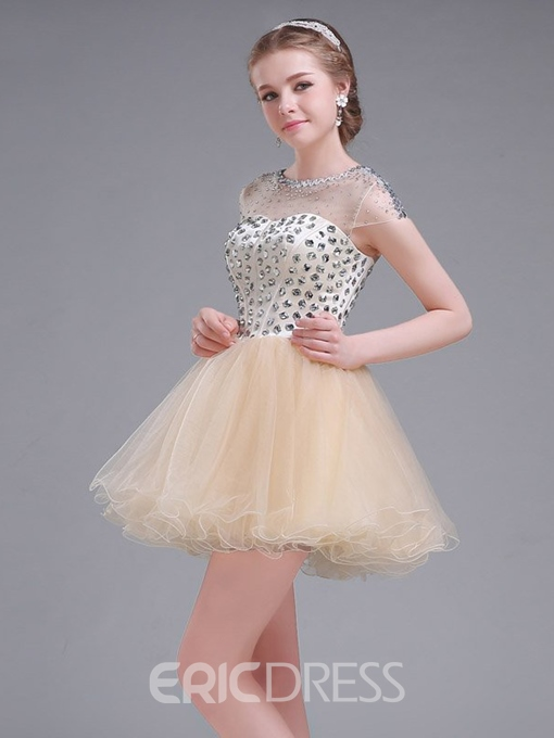 Ericdress A-Line Cap Sleeve Crystal Beading Mini Homecoming Dress