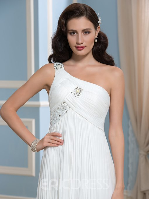 Ericdress One Shoulder Ruched Beading Beach Wedding Dress