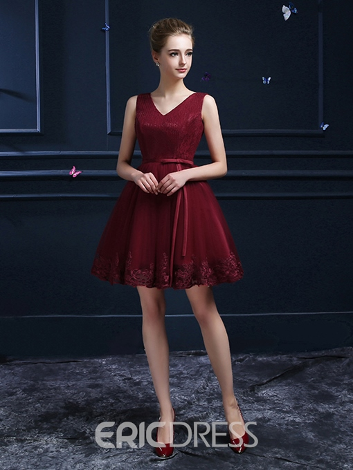 Ericdress A-Line V-Neck Belt Waistline Lace Homecoming Dress