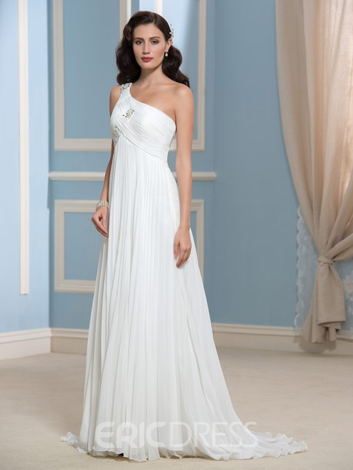 Ericdress Comely One Shoulder Chiffon Wedding Dress