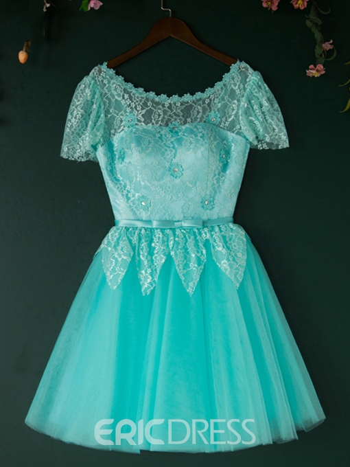 Ericdress Short Sleeve Lace Bowknot Lace-Up Homecoming Dress