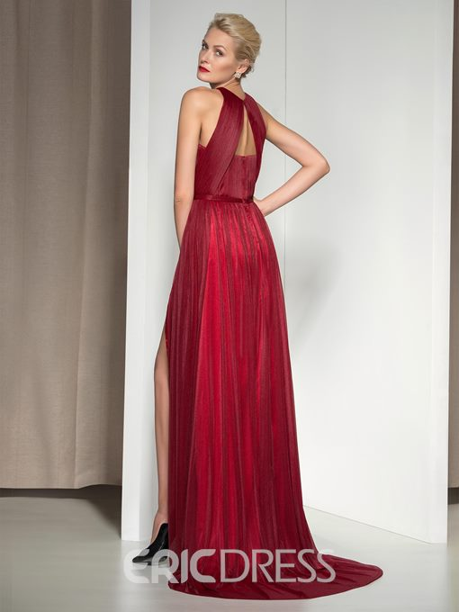 Ericdress Halter Pleats Front-Split Evening Dress