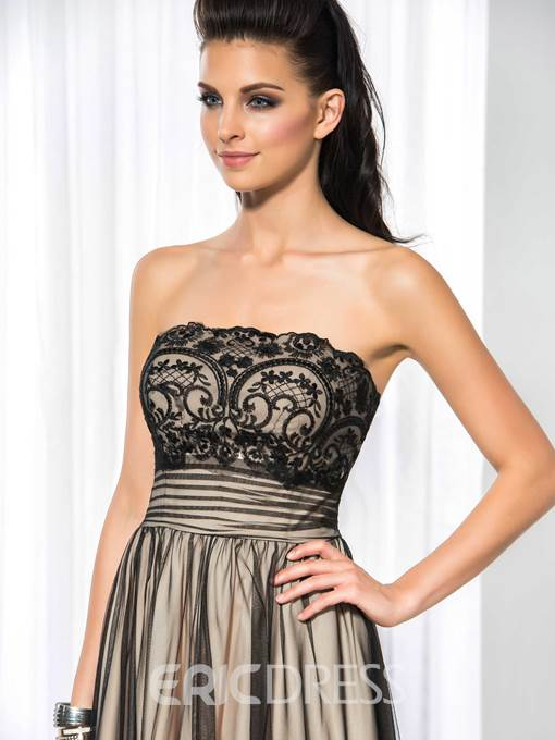 Ericdress A-Line Strapless Lace Cocktail Dress