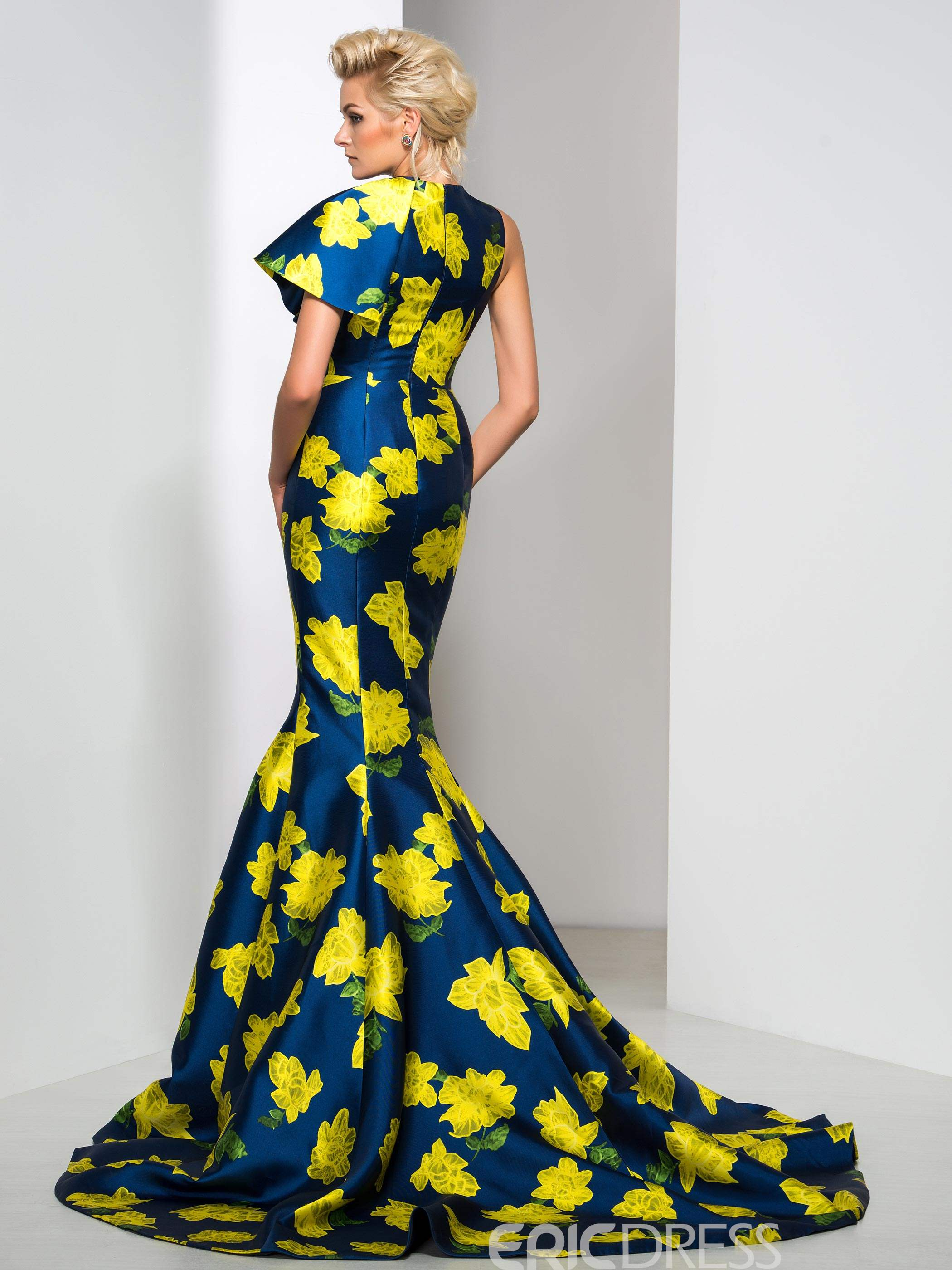 Ericdress Floral Print Court Train Mermaid Evening Dress