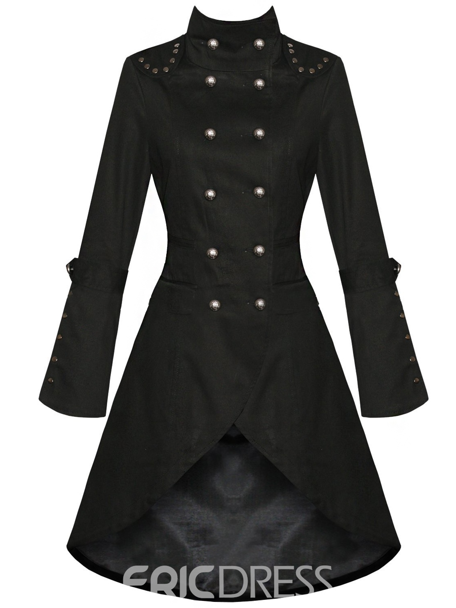 Ericdress Plain Punk Irregular Coat