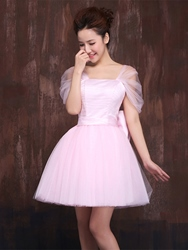 Ericdress Straps A-Line Bow Ruched Mini Homecoming Dress