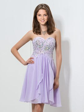 Ericdress Sweetheart Appliques Beaded Homecoming Dress