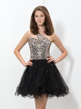 Ericdress One-Shoulder Ruffles Sequins Beaded Homecoming Dress