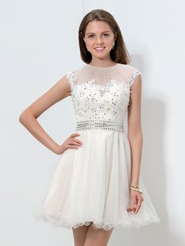 Ericdress bijou cou Appliques paillettes volants Homecoming robe