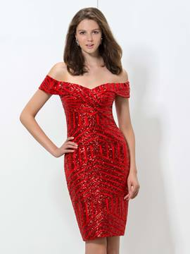 Ericdress Off-The-Shoulder Sequins robe de Cocktail