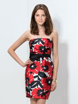 Ericdress Strapless Print Sheath Cocktail Dress