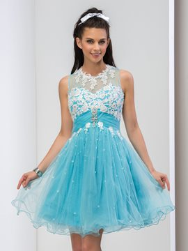Ericdress Jewel Neck Appliques Ruffles Homecoming Dress