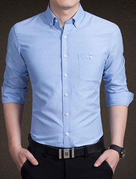 Ericdress Simple Design Plain Long Sleeve Men's Shirt