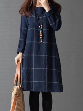 Ericdress Knee-Length Print Round Neck Mori Girl Plaid Dress