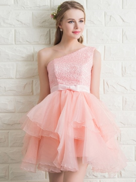 Ericdress un-épaule-ligne dentelle Bow Homecoming robe