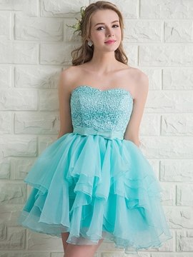 Ericdress Sweetheart a-ligne de dentelle Bow Homecoming Mini robe