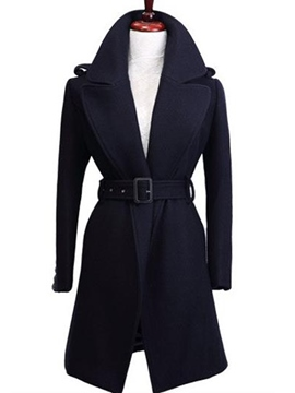 Ericdress Solid Color V-Neck Belt Slim Coat