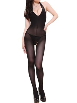 Ericdress Black Halt Open Crotch Pantyhose