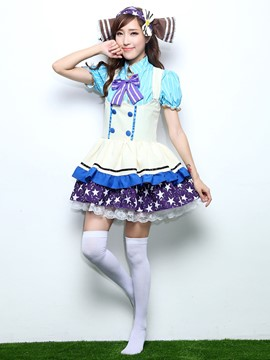 Ericdress Patched Sweet Short Sleeve Costume